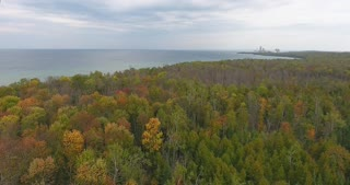 Lake Michigan Aerial Fall Color Tracking Shot