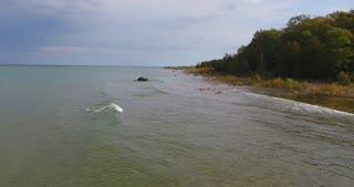 Lake Michigan Aerial Fall Waves Push In