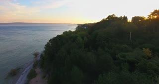Lake Michigan Aerial Sunrise Forrest Flyover