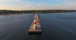 Lake Michigan Aerial Sunrise Pier Circle