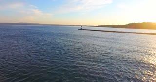 Lake Michigan Aerial Sunrise Pier Flyover