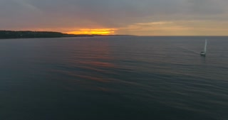 Lake Michigan Aerial Sunset Sailboat
