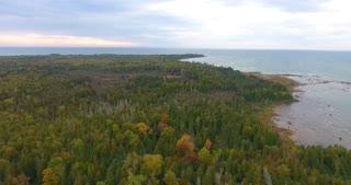Lake Michigan Fall Aerial Pull Back