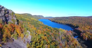 Lake Of The Clouds Fall Aerial Flyover