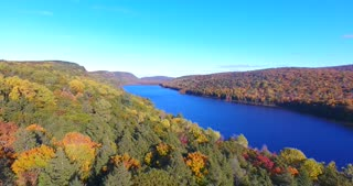 Lake Of The Clouds Fall Aerial Pull Back
