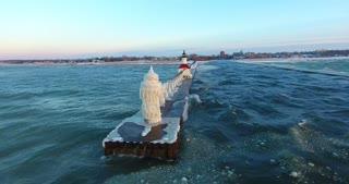 Lighthouse Winter Sunset Aerial