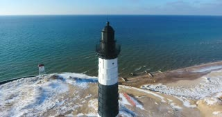 Luddington Lighthouse Winter Aerial Descending Shot