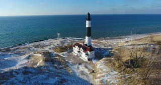 Luddington Lighthouse Winter Aerial Flyover Top Down
