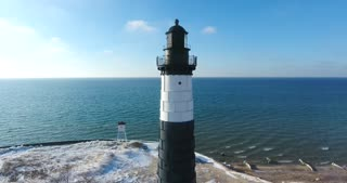 Luddington Lighthouse Winter Aerial Flyover