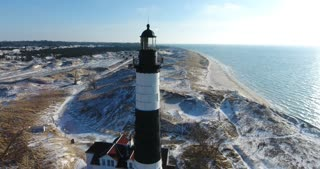 Luddington Lighthouse Winter Aerial Sun