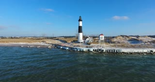 Luddington Lighthouse Winter Aerial
