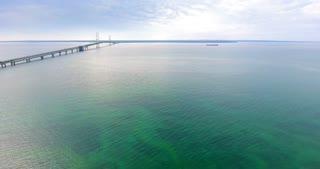 Mackinac Bridge Lake Michigan Aerial Pull Back