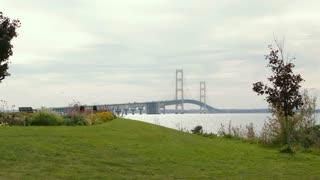 Mackinac Bridge Michigan Bridge View Park Wide Shot