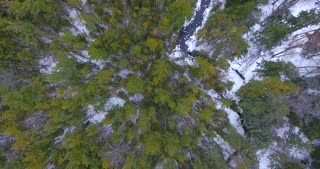 Michigan Winter Forest River Aerial