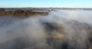 Morning Fog Flyover Aerial
