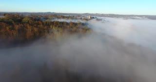 Morning Fog Pull Back Aerial