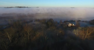 Morning Fog Push In Aerial