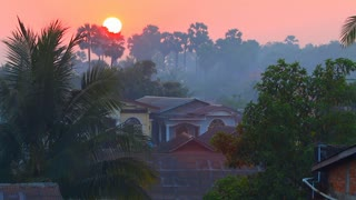 Myanmar Sunrise Over Village