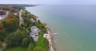 Petoskey Michigan Aerial Lake Michigan Push In