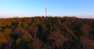 Cell Phone Tower Evening Dolly Flyover Aerial