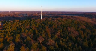 Radio Tower Evening Flyover Aerial