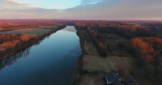 River Aerial Sunrise Flyover