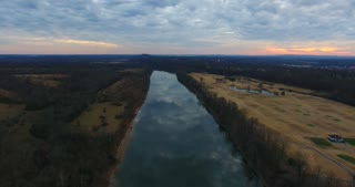 River Aerial Sunset Flyover