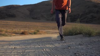 Running Male Slow Mo Gravel Road