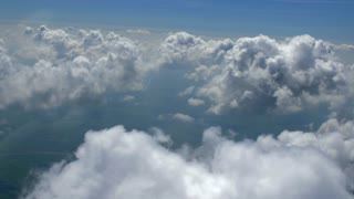 4K Aerial Paralax Through Clouds Airplane Flying
