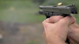 4K 60 Fps Slow Mo 44mm Hand Gun Shooting Target Bullets Shells Fight Scene Explosion