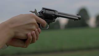 4K 60 Fps Slow Motion 22 Mm Hand Gun Revolver Shells Shooting Target Practice Tight Shot