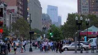 4K 60fps Slow Mo People Walking Boston Crosswalk Foot Traffic Building City