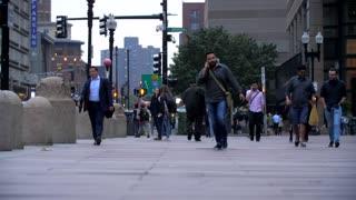 4K 60fps Slow Mo People Walking Boston Foot Traffic Building City