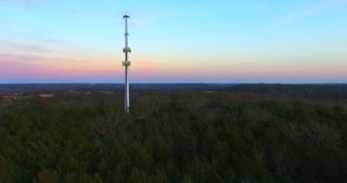 4K Aerial Cell Tower Beautiful Sunset Reception Flyover Forest