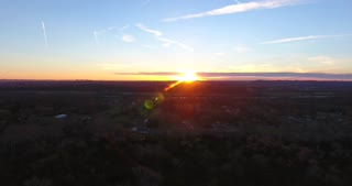 4K Aerial Cell Tower Beautiful Sunset Reception Forest Cable Cam Side Shot