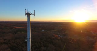 4K Aerial Cell Tower Beautiful Sunset Reception Forest Circle Shot