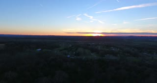 4K Aerial Cell Tower Beautiful Sunset Reception Forest Close Pull Back Shot