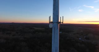 4K Aerial Cell Tower Beautiful Sunset Reception Forest Dish Circle Shot