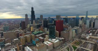 4K Aerial Chicago Skyline Buildings City Urban Establishing Shot Flying Cna Building Willis Tower Helicopter Orbit Shot Slow