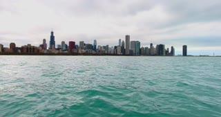 4K Aerial Chicago Skyline Buildings City Urban Lake Michigan Water Flying Left