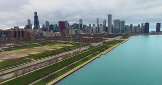 4K Aerial Chicago Skyline Buildings City Urban Lake Michigan Water Flying Over