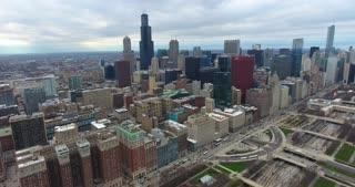 4K Aerial Chicago Skyline Buildings City Urban Lake Michigan Water Flying Willis Tower Rising Shot