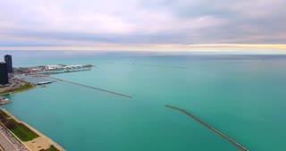 4K Aerial Chicago Skyline Buildings City Urban Lake Michigan Water Flying Willis Tower Pan Left