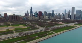 4K Aerial Chicago Skyline Buildings City Urban Lake Michigan Water Flying
