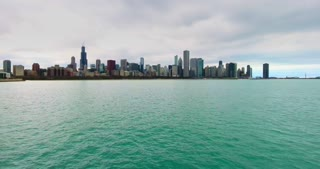 4K Aerial Chicago Skyline Buildings City Urban Lake Michigan Water