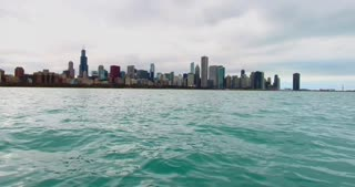 4K Aerial Chicago Skyline Buildings City Urban Lake Michigan Water