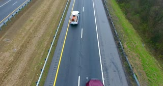 4K Aerial Freeway Cable Cam Trucks Transportation Vehicles Driving On Tennessee Road