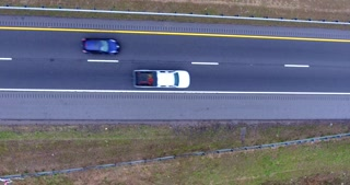 4K Aerial Freeway Top Down Flyover Shot Trucks Transportation Vehicles Driving On Tennessee Road