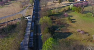 4K Aerial Freight Trains Box Cars Flyover Nashville Tennessee Train Tracks