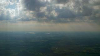 4K Aerial Landscape Sun Rays Streaming Down Through Clouds Beautyful Missouri Farmland